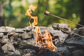 Roasting marshmallows over a campfire. Making smores while camping is the best thing ever.