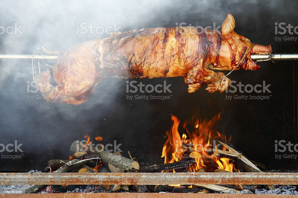 Roasting piglet stock photo