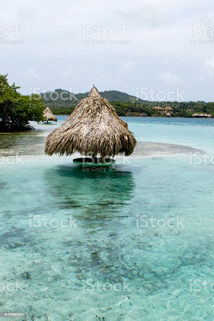 Roatan, Honduras has blue, clear water. stock photo