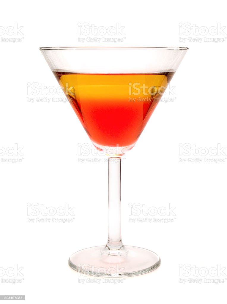 Rob Roy cocktail isolated on white background stock photo