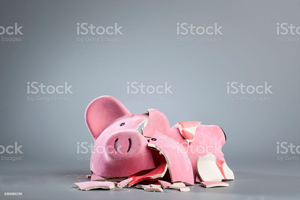 Robbed piggy bank stock photo
