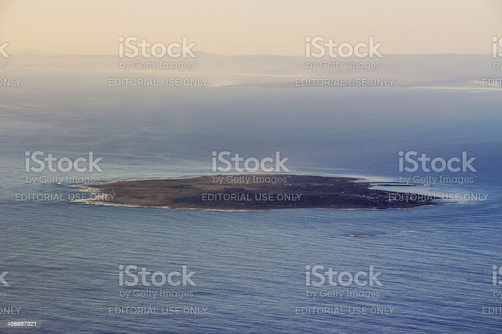 Robben Island View from Table Mountain stock photo
