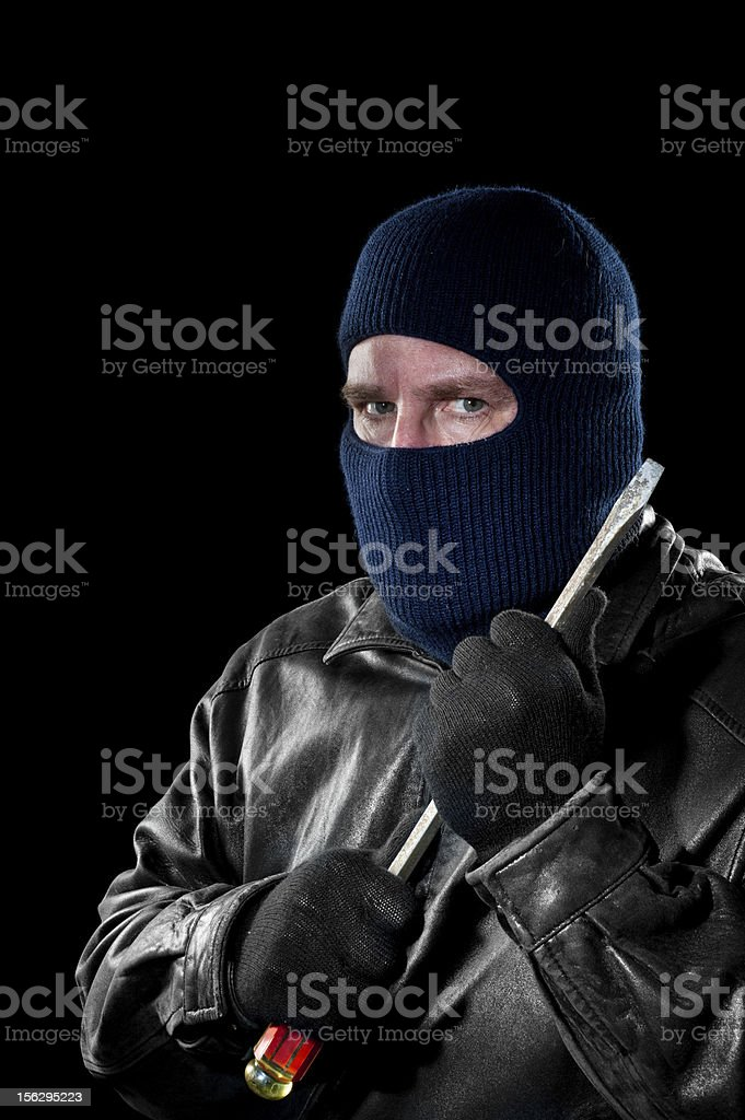 Robber with screwdriver royalty-free stock photo