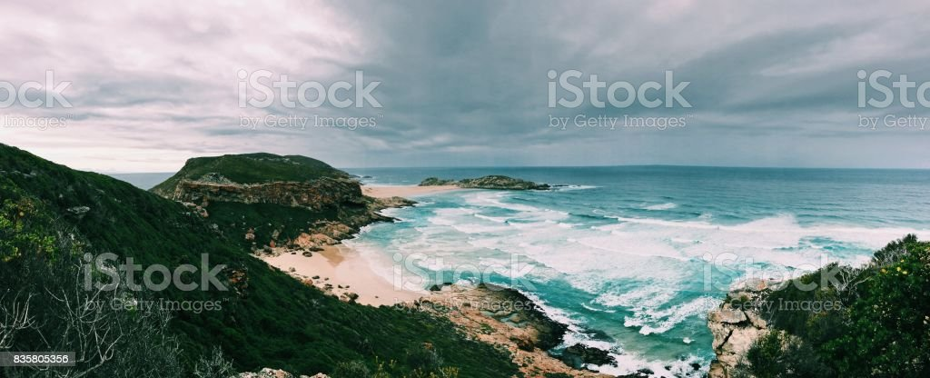 Robberg Coastline Panoramic stock photo