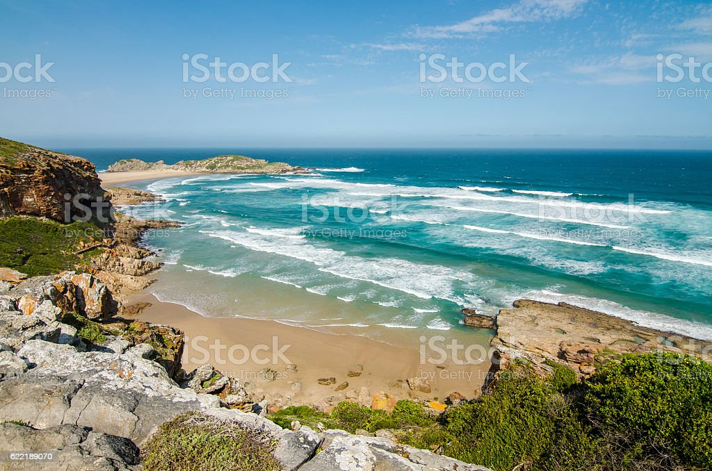 Robberg peninsula beach, Indian Ocean waves, Garden route, South Africa stock photo