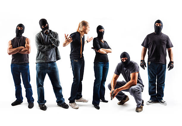 Robbers isolated on white background stock photo