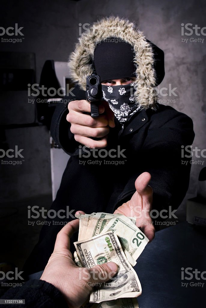 Robbery at gun point II royalty-free stock photo