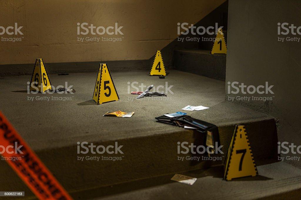 Robbery crime scene stock photo