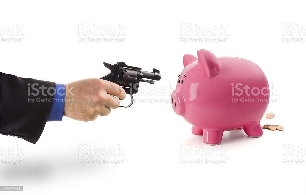 Robbing the Piggy Bank royalty-free stock photo