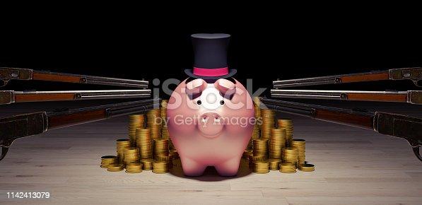 robbing the rich piggy bank concept 3d render 3d illustration