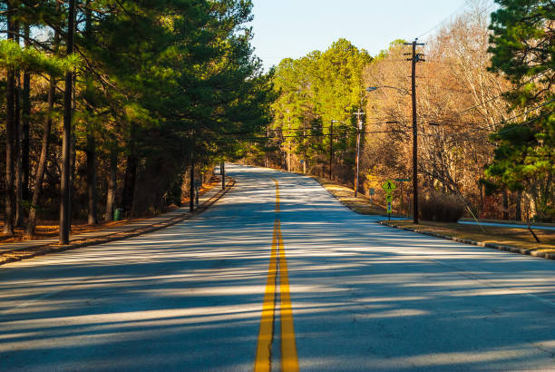 Robert E Lee Boulevard in Stone Mountain Park, Georgia, USA Robert E Lee Boulevard with long shadows of trees in the Stone Mountain Park in sunny autumn day, Georgia, USA robert e. lee stock pictures, royalty-free photos & images