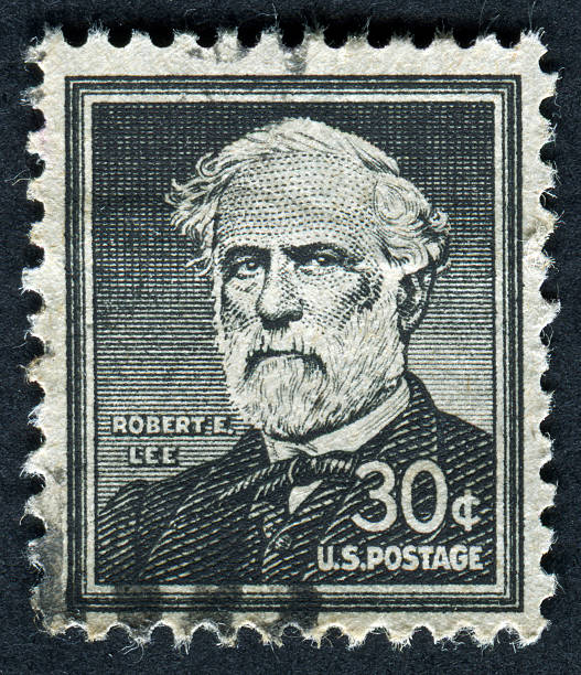 Robert E. Lee Stamp Cancelled Stamp From The United States Honoring The Civil War General Robert E. Lee.  Lee Died In 1870, Over 140 Years Ago. robert e. lee stock pictures, royalty-free photos & images