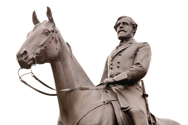 Robert E. Lee Statue at Gettysburg, Isolated  robert e. lee stock pictures, royalty-free photos & images
