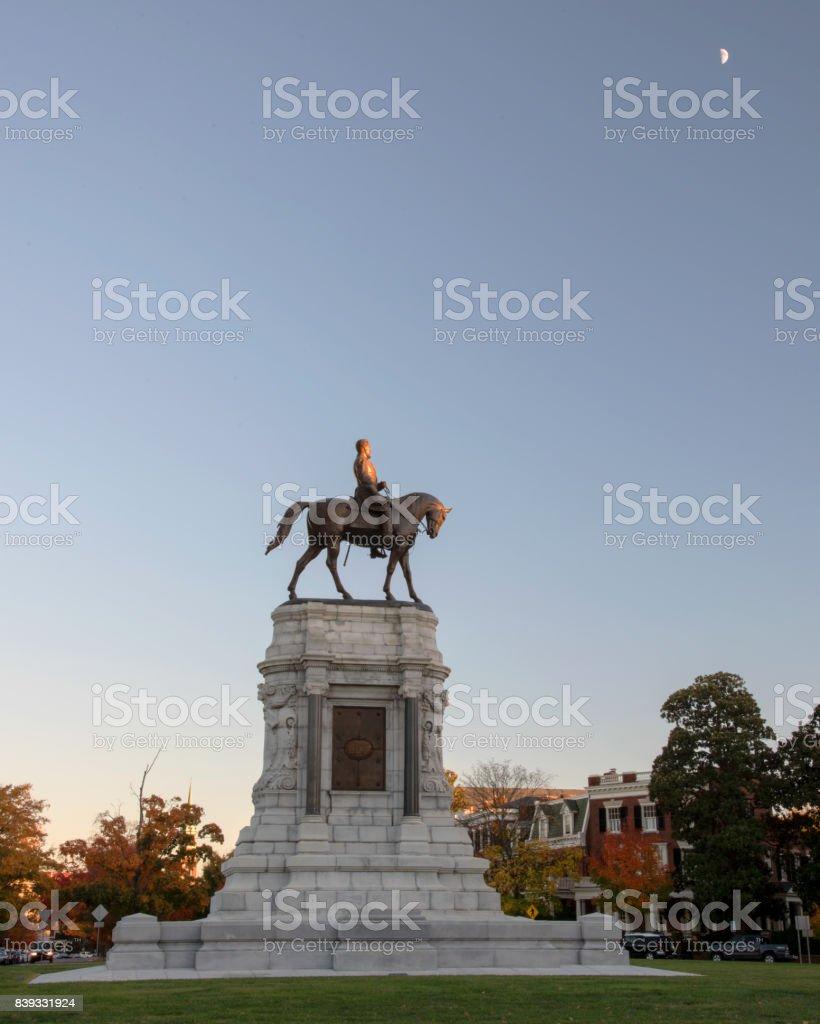 Robert E Lee statue stock photo