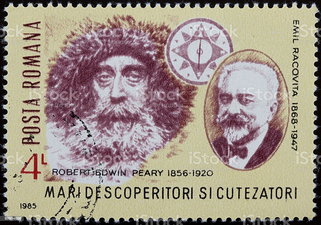 Robert Edwin Peary and Emil Racovita stamp royalty-free stock photo