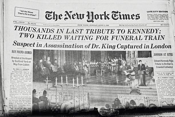 robert francis kennedy begräbnis - new york times stock-fotos und bilder