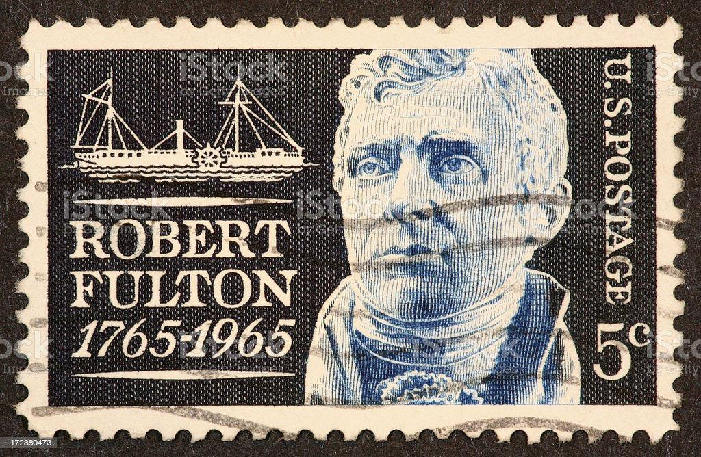 Robert Fulton stamp royalty-free stock photo