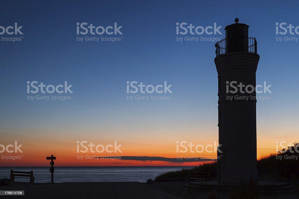 Robert H. Manning Memorial Lighthouse at Sunset royalty-free stock photo