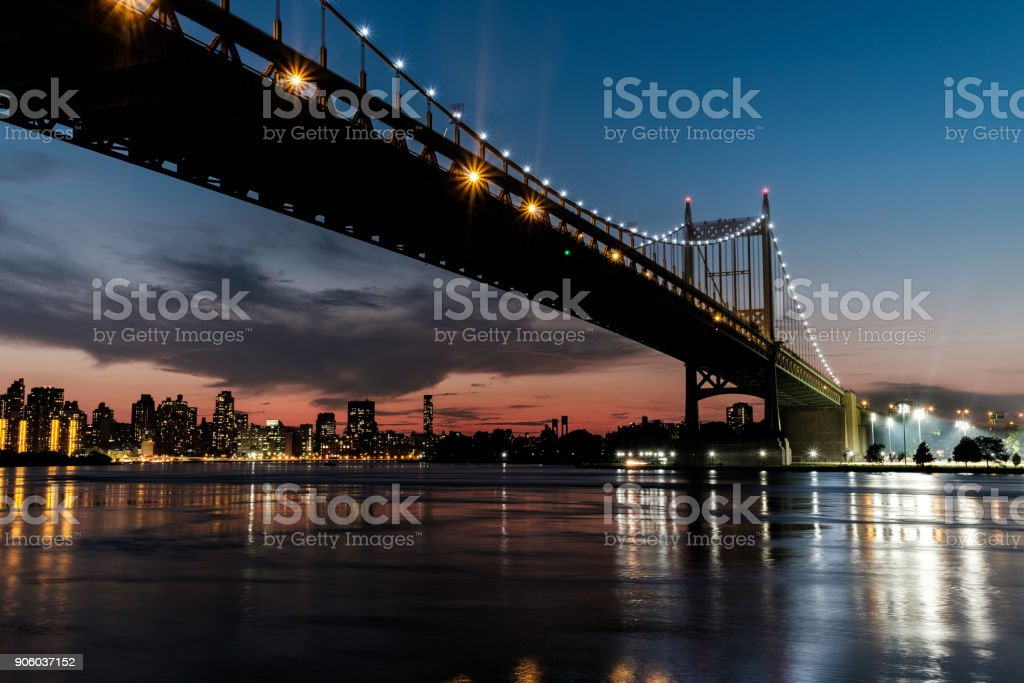 Robert Kennedy Bridge after sunset stock photo