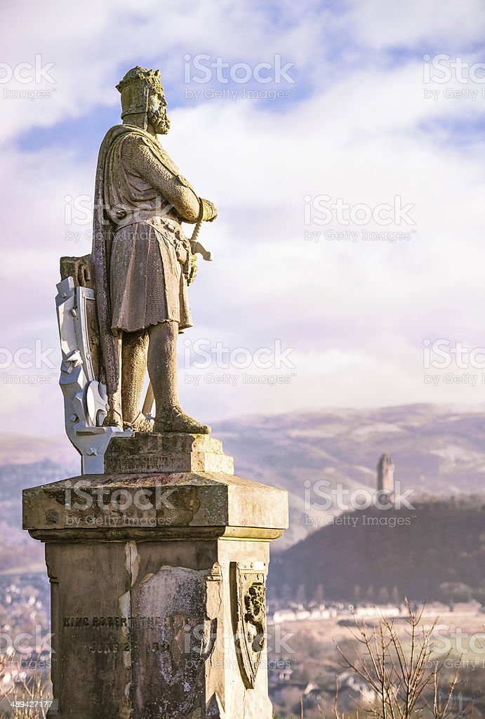 Robert the Bruce Statue and the Wallace Monument stock photo