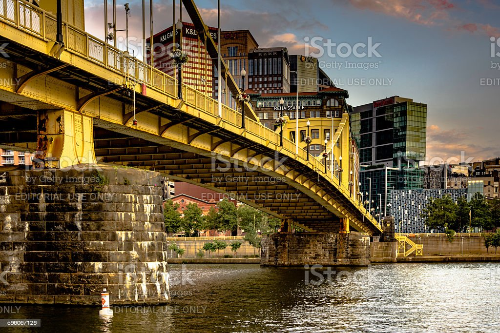 Roberto Clemente Bridge looking back to downtown Pittsburgh royalty-free stock photo
