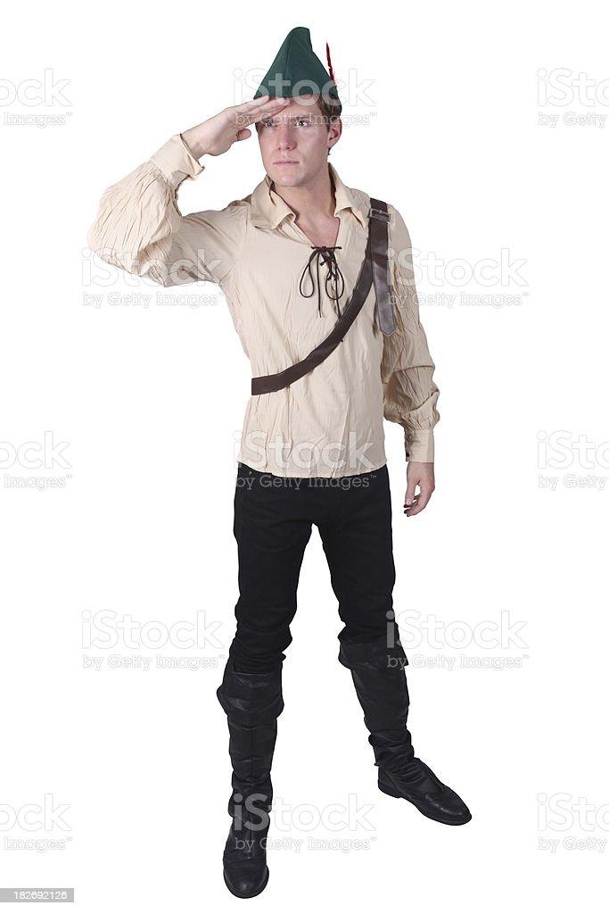 Robin Hood shielding eyes searching stock photo
