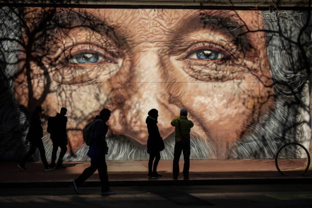Robin Williams Memorial Mural on Market Street stock photo
