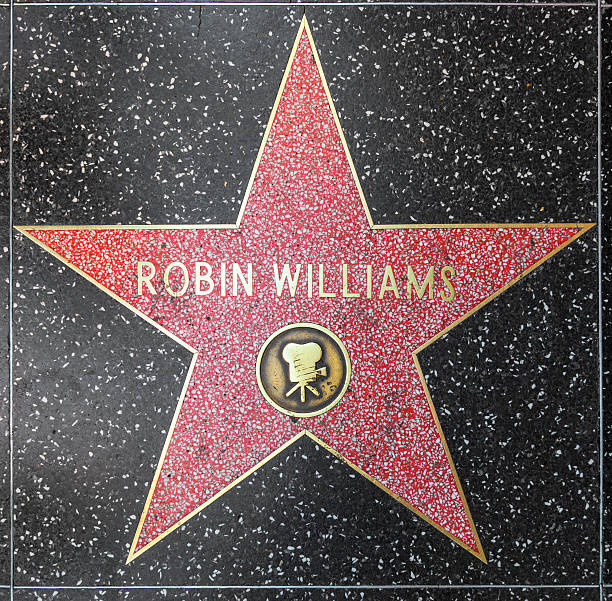 Robin Williams star on Hollywood Walk of Fame Los Angeles, USA - June 24, 2012: Robin Williams star on Hollywood Walk of Fame in Hollywood, California. This star is located on Hollywood Blvd. and is one of 2400 celebrity stars. hollywood boulevard stock pictures, royalty-free photos & images