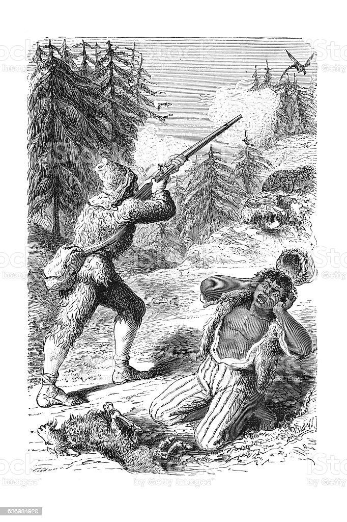Robinson Crusoe hunting with aboriginal friday engraving 1881 stock photo