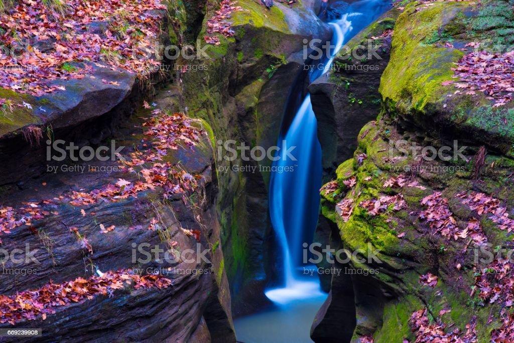 Robinson Falls in Hocking Hills Ohio stock photo
