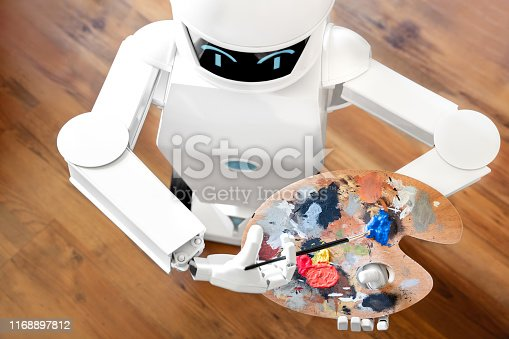 910163152 istock photo robot ai artificial intelligence is learning creativity by using a painter palette, doing a artwork, concept autonomous robot is going to be an artist 1168897812