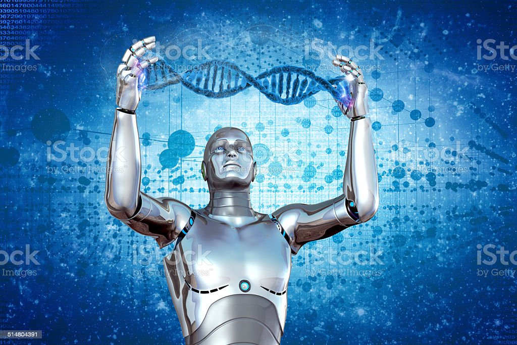 Robot and DNA stock photo