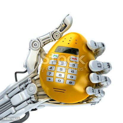 istock Robot and easter egg - phone 163674677