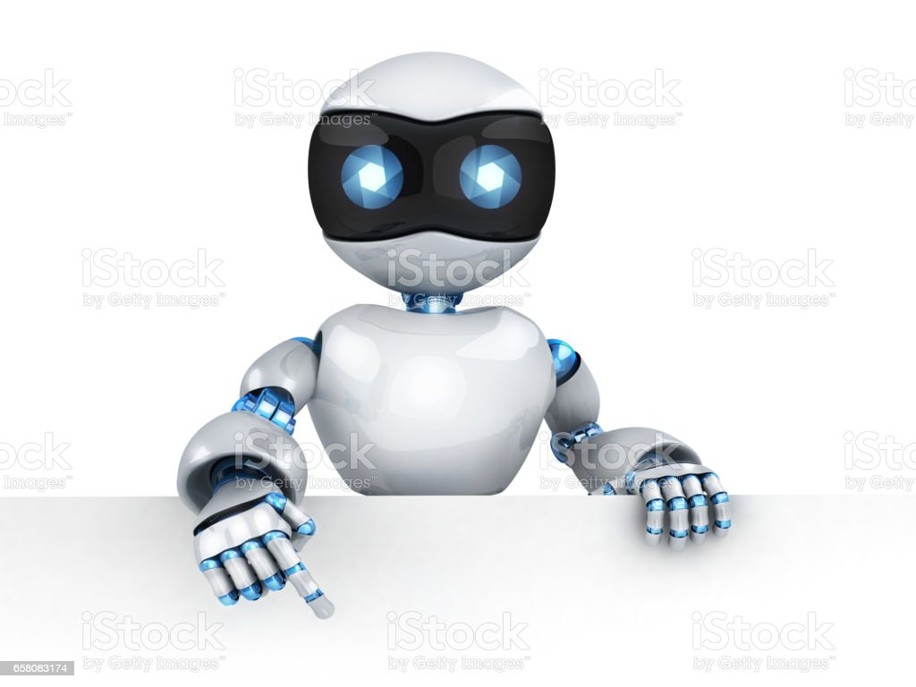 Robot and empty blank royalty-free stock photo