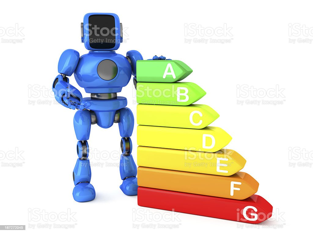 Robot and energy efficiency graph royalty-free stock photo