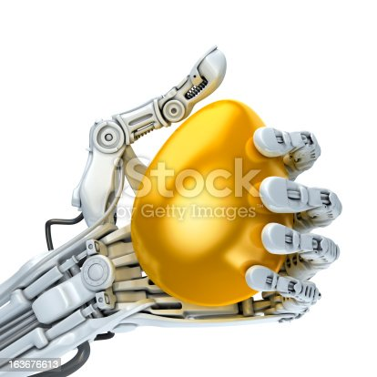 istock Robot and gold easter egg 163676613