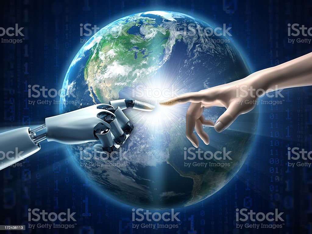 Robot and human fingers touching, earth in background stock photo
