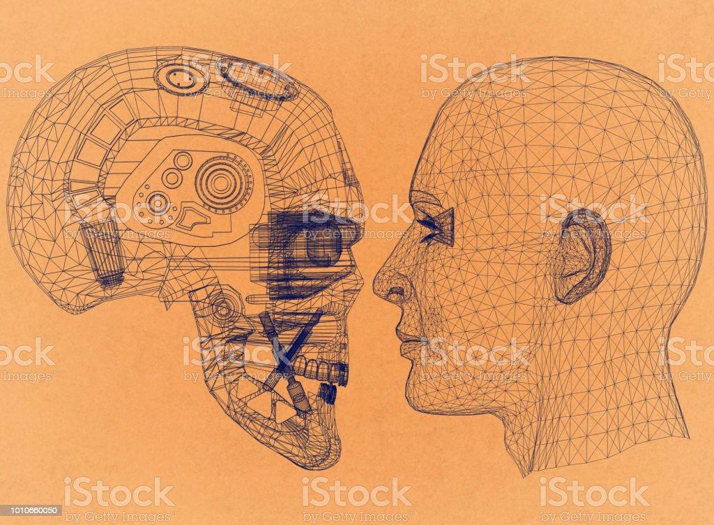 Roboter und Menschenkopf Design - Retro-Architekt-Entwurf – Foto