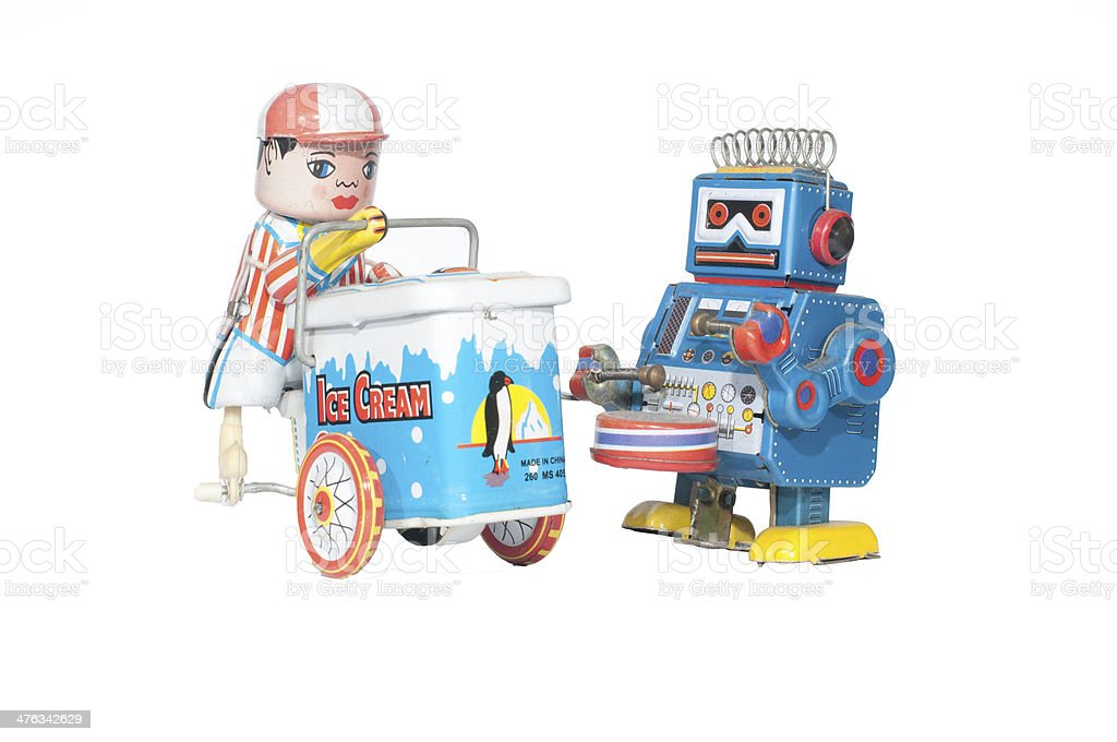 robot and ice cream car toy royalty-free stock photo