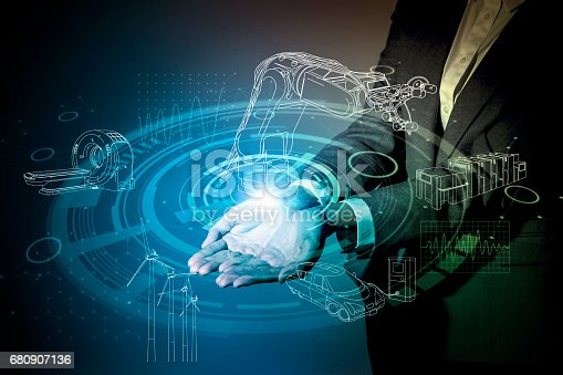 istock robot and industrial technology abstract, a woman holding her hand, industry4.0 680907136