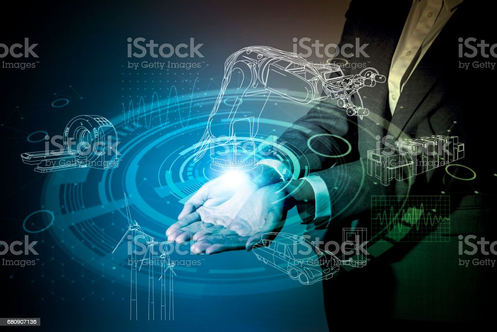 robot and industrial technology abstract, a woman holding her hand, industry4.0 stock photo