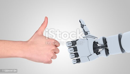 istock Robot and man hands showing gesture, isolated on white. 1133444134