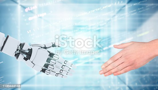 istock Robot and man hands showing gesture, isolated on white. 1133444148