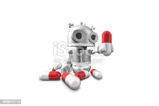 istock Robot and pill 866810110