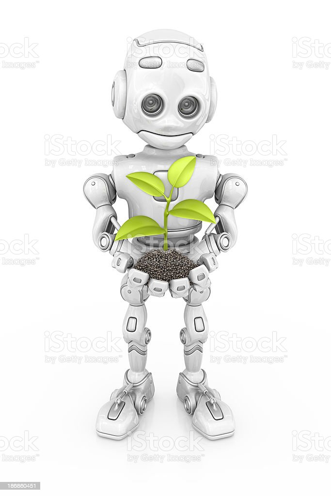 robot and plant royalty-free stock photo