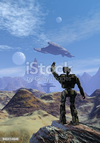 istock Robot and spaceships on an alien planet with mountains and rocks 940414646