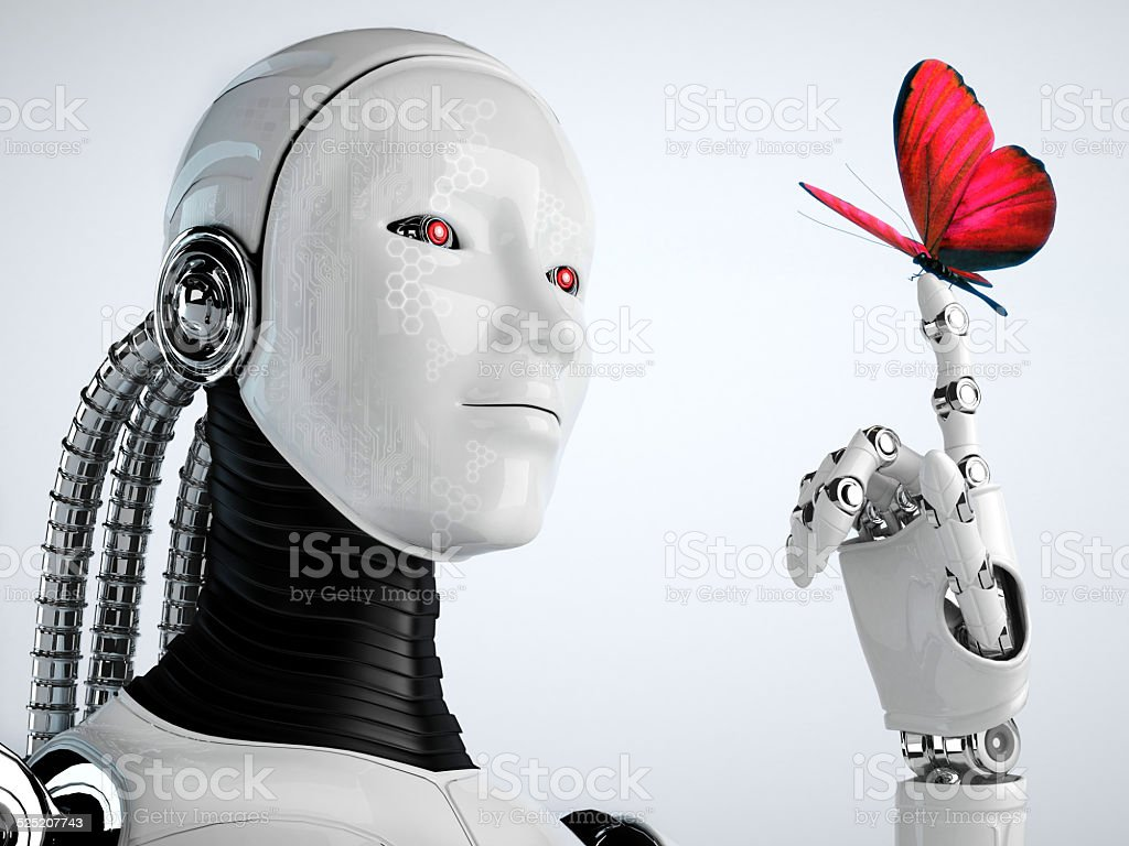 robot android women and butterfly stock photo