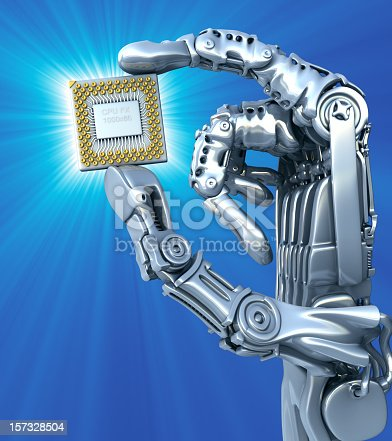 Robot arm with abstract  CPU.3d illustration