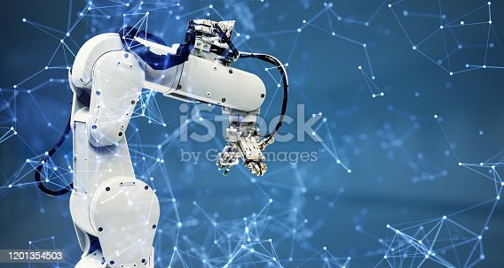 Robot arm and communication network concept. Industrial technology. INDUSTRY4.0