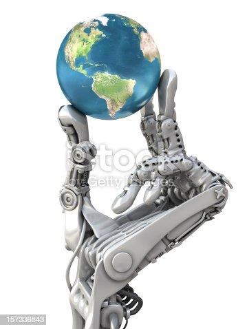 istock Robot arm and earth globe 157336843